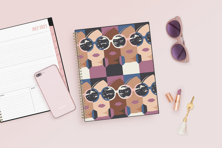 2021-2022 weekly monthly academic planner featuring a Barbie inspired design for Blue Sky with twin wire-o binding in a 8.5x11 size