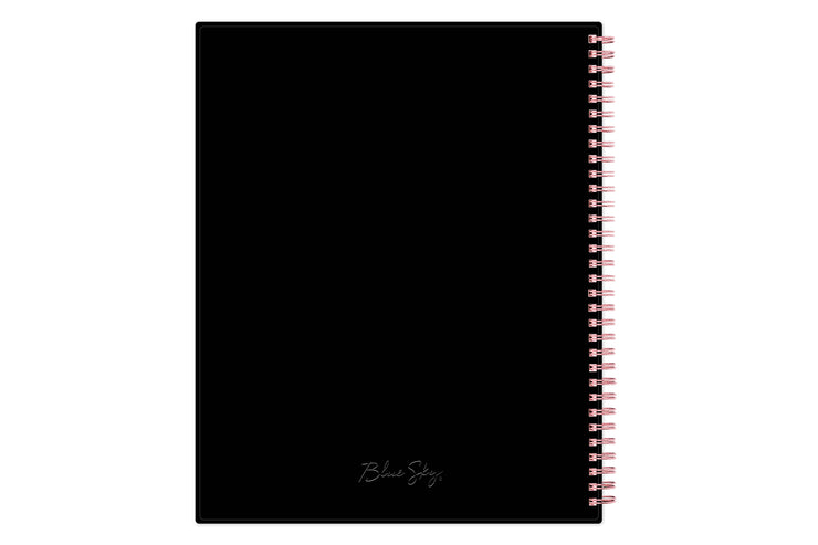 2021-2022 weekly monthly academic school planner featuring twin wire-o binding and a solid black back cover in 8.5x11 planner size