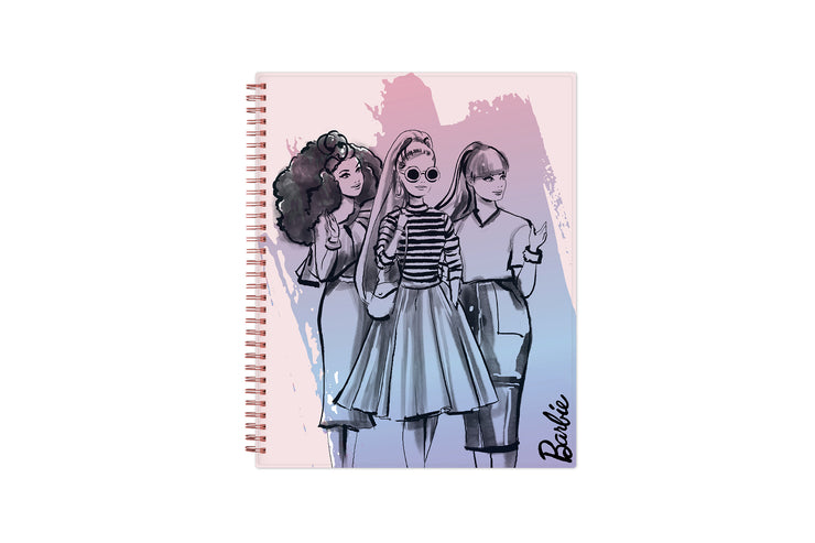 June 2021-2022 weekly and monthly planner for academic year featuring a Barbie collaboration for Blue Sky with pink wire-o binding in 8.5x11 size
