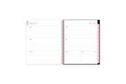 This 2021-2022 weekly monthly planner features a weekly spread with clean, lined writing space with room for notes, to-do lists, goals, projects, and pink monthly tabs