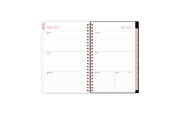 This 2021-2022 weekly monthly planner features a weekly spread with clean, lined writing space with room for notes, to-do lists, goals, projects, and pinkmonthly tabs
