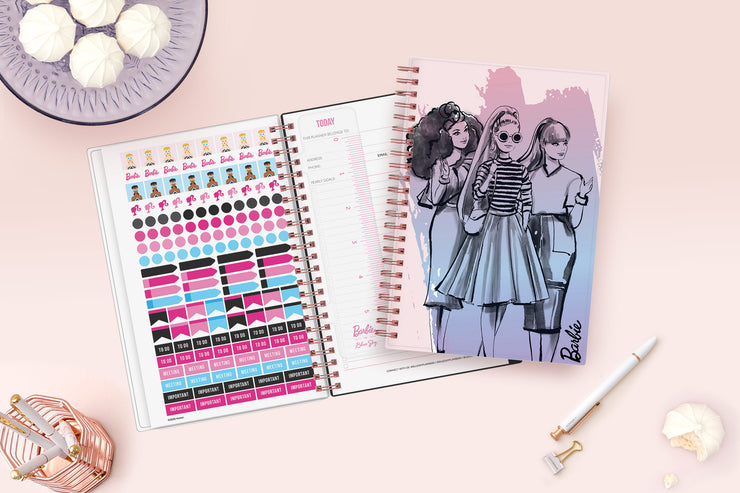 June 2021-2022 weekly and monthly planner for academic year featuring a Barbie collaboration for Blue Sky with pink wire-o binding in 5x8 size