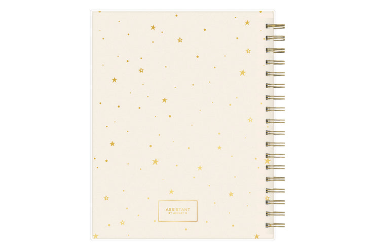 2021-2022 daily academic school agenda and planner featuring twin wire-o binding and gold stars across blush background cover in 8x10 planner size