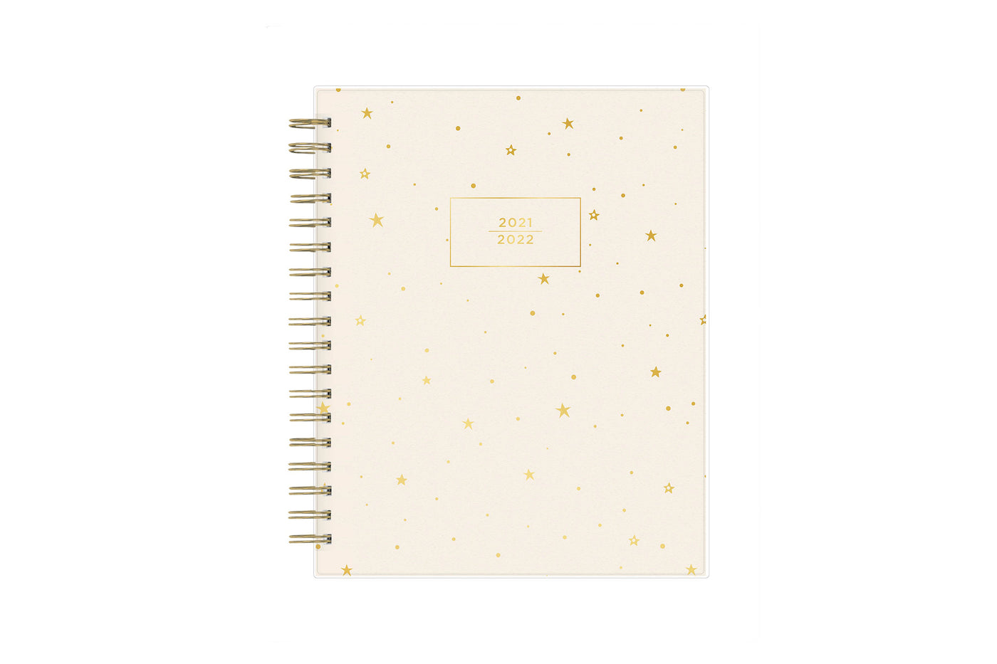 2021-2022 daily and monthly agenda planner for the academic school from Assistant by Ashley G for Blue Sky with gold star pattern and beige background 8x10