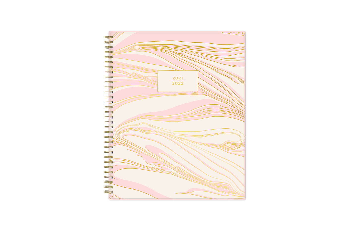 June 2021-2022 weekly and monthly planner for academic year featuring 8.5x11 size with pink and gold mosaic, gold twin wire-o binding