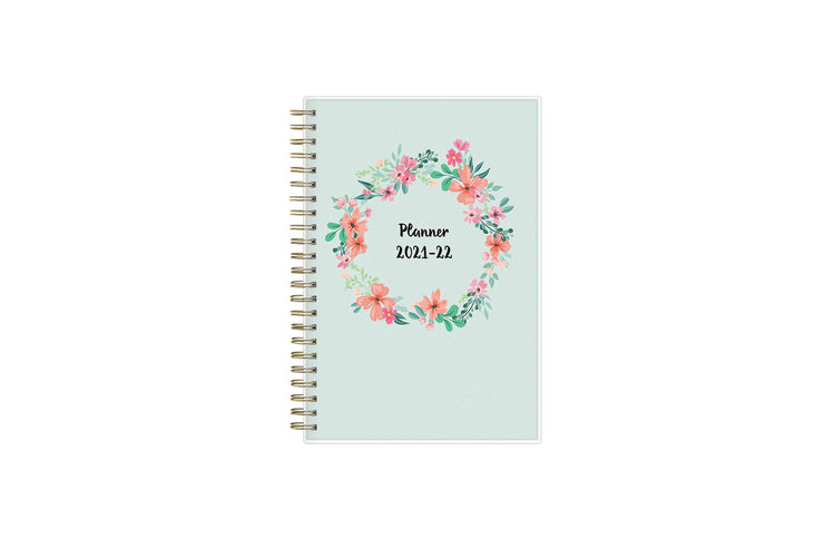 2021-2022 weekly monthly academic planner featuring brushed florals, a mint background, and twin wire-o binding in a 5x8 planner