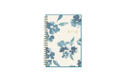 July 2021 - June 2022 academic weekly monthly planner featuring a white background and blue paint brush florals, twin wire-o binding in a 5x8 planner size for the school year
