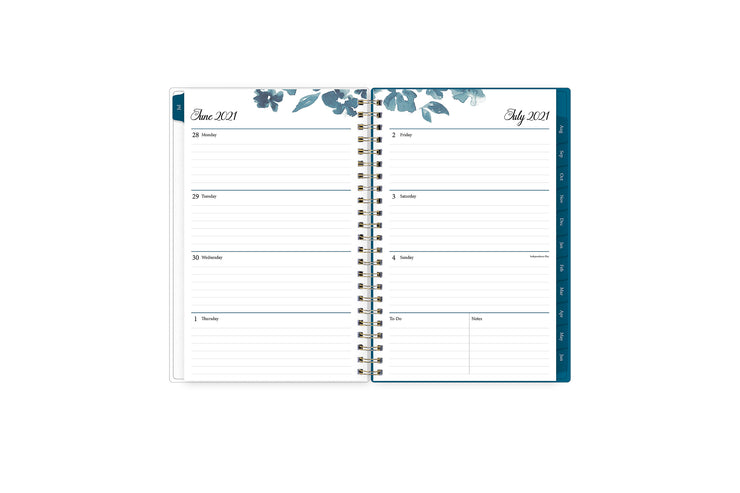 2021-2022 weekly monthly 5x8 academic planner featuring a weekly spread with ample lined writing space, to-do list, notes section, and blue monthly tabs
