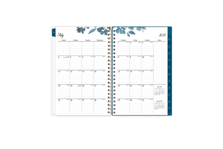 July 2021- June 2022 weekly monthly academic year planner featuring a monthly spread, lined writing space, notes section, reference calendars, and blue monthly tabs in 5x8 planner size