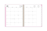 assistant by ashley weekly monthly planner system with pink, white, and gold stripes for 2021 featuring a monthly spread with tabs for each month january to december 2021