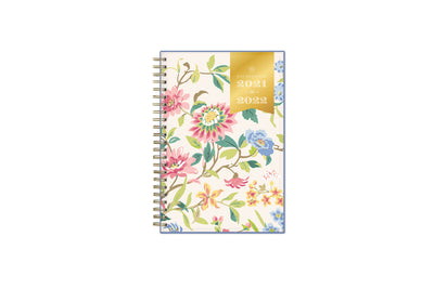 2021-2022 weekly monthly academic planner for the school year in mint background and floral patterns in 5x8 size, gold wire binding