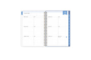 2021-2022 weekly monthly planner featuring weekly spread with notes, bullet points, to do's, goals, and blue tabs for each day of the week
