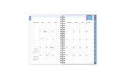2021-2022 weekly monthly planner featuring a monthly spread with blue tabs for each month  and notes and to-do section