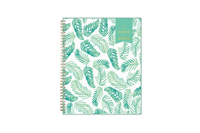 2021-2022 weekly and monthly day designer planner for blue sky featuring palms front cover silver wire-o binding in a 8.5x11 planner size