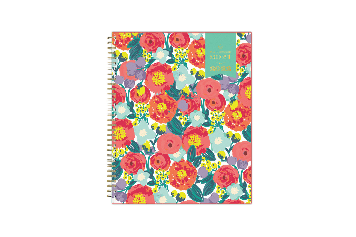 2021-2022 weekly and monthly planner for the academic school year featuring floral blossoms from Day designer in 8.5x11 planner size