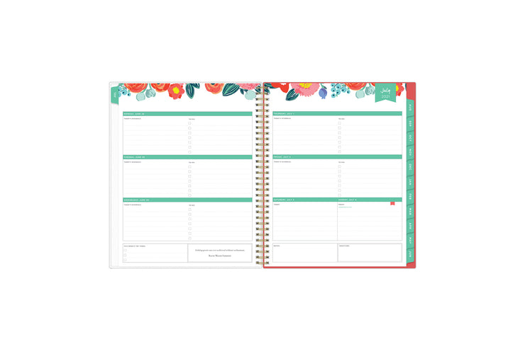 July 2021-June 2022 weekly monthly planner featuring weekly view with notes section, reference months, to-do list, and mint tabs on 8.5x11 planner
