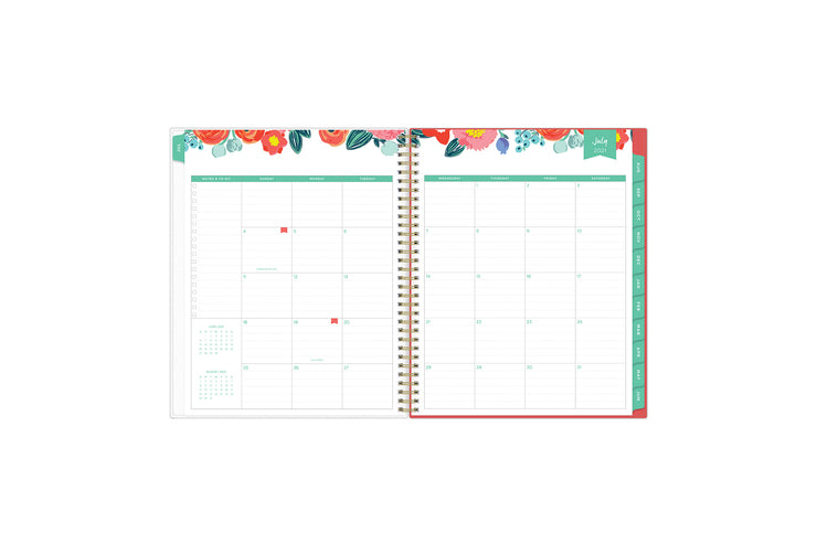 July 2021-June 2022 weekly monthly planner featuring monthly view with notes section, reference months, to-do list, and mint tabs on 8.5x11 planner
