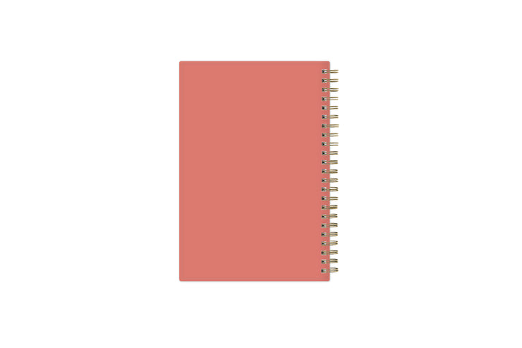 2021-2022 academic planner weekly and monthly with gold wire-o and coral 5x8 background cover