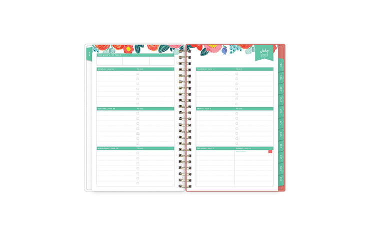 July 2021-June 2022 weekly monthly planner featuring weekly view with notes section, reference months, to-do list, and mint tabs on 5x8 planner