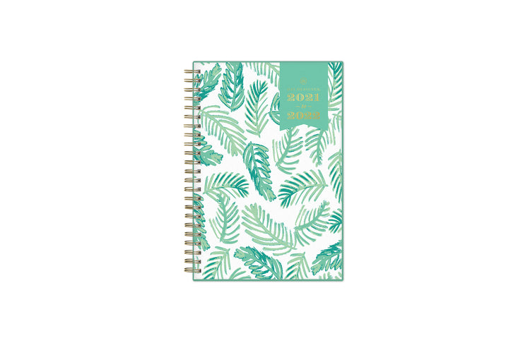 2021-2022 weekly and monthly day designer planner for blue sky featuring palms front cover silver wire-o binding in a 5x8 planner size