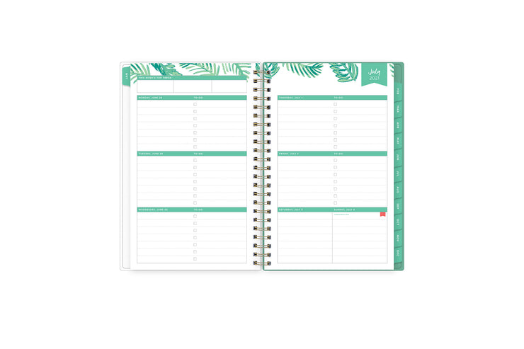 2021-2022 academic weekly monthly planner featuring a weekly spread grid lined notes, to-do list, goals, mint tabs, and reference calendars in 5x8 planner size