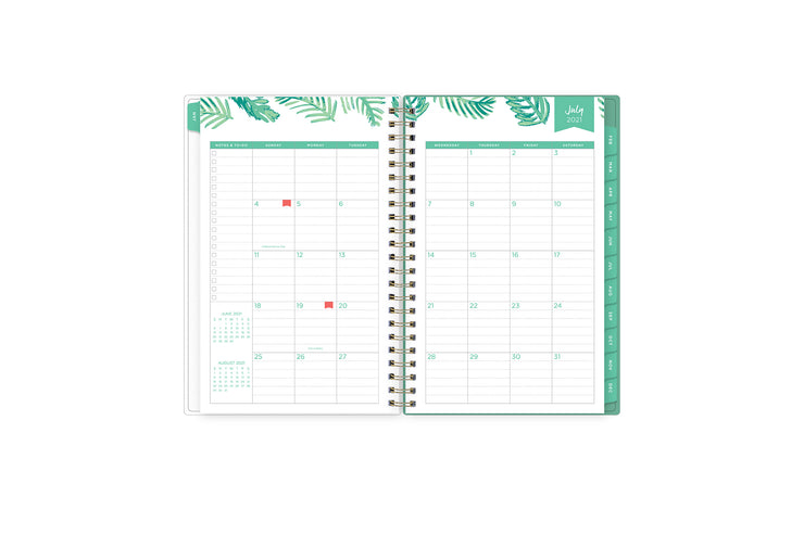 2021-2022 academic weekly monthly planner featuring a monthly spread grid lined notes, to-do list, goals, mint tabs, and reference calendars in 5x8 planner size
