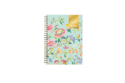 2021-2022 weekly monthly academic planner for the school year in mint background and floral patterns in 8.5x11 size, gold wire binding