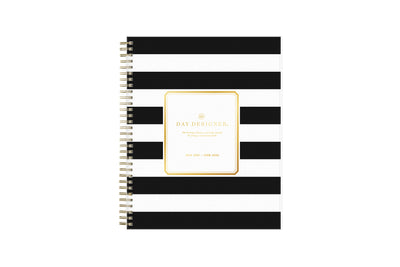 2021-2022 daily academic planner featuring black stripes front cover from Day designer for blue sky in a 8x10 planner size