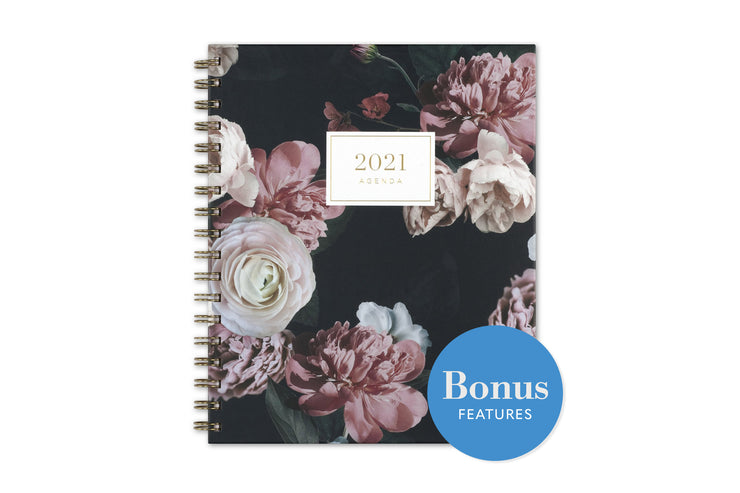 2021 cupcakes and cashmere midnight musk daily planner with black background and matte pink roses and green leaves