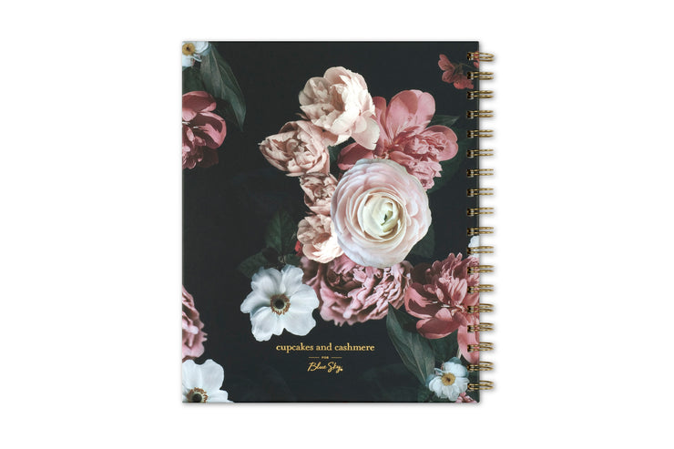 2021 cupcakes and cashmere midnight musk daily planner with black background and matte pink roses and green leaves hard backcover, twin wire-o binding