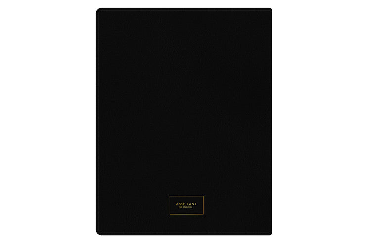 2021-2022 weekly monthly academic school planner featuring twin wire-o binding and a solid black cover in 8.5x11 planner size