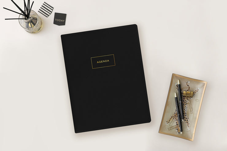 June 2021-2022 weekly and monthly planner for academic year featuring 8.5x11 size with solid black cover, Padfolio