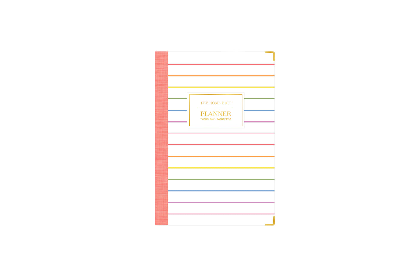 the home edit for blue sky 5x8 skinny rainbow stripes cover for 2021-2022 academic year featuring bookbound binding