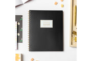 the home edit for blue sky 8.5x11 weekly monthly  planner with solid black cover for 2021-2022 academic year featuring twin-wire binding