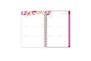 July 2021- June 2022 weekly monthly planner featuring a weekly spread with clean writing space, notes section, reference calendar, and pink monthly tabs all in a compact 5x8 planner size