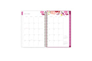 July 2021- June 2022 weekly monthly planner featuring a monthly spread with clean writing space, notes section, reference calendar, and pink monthly tabs all in a compact 5x8 planner size