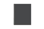 8.5x11 Professional notebook with important dates, contact page for reference, silver twin wire-o binding, with a charcoal front and back cover.
