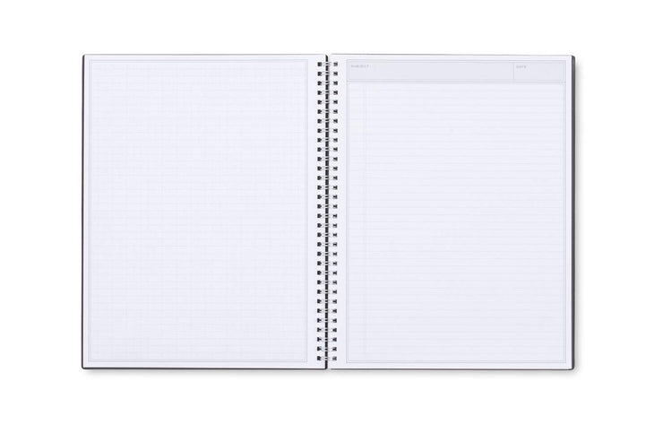 Ample lined writing space and graph sheet with subject and date header for notes, meetings, and writing down projects.