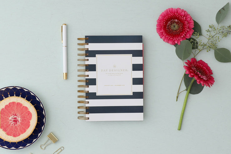 2021 Daily Planner Navy Stripe 5 x 8 by Day Designer
