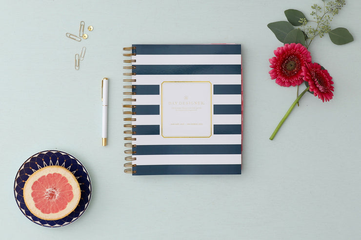 2021 Daily Planner Navy Stripe 8 x 10 by Day Designer