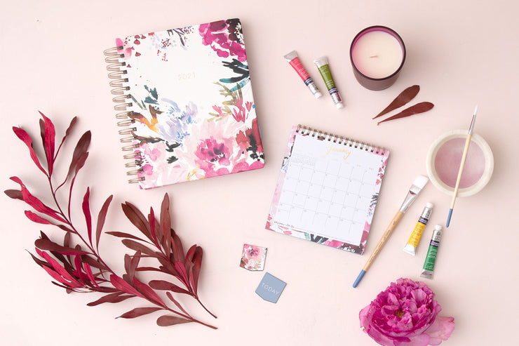 2021 Desk Calendar by Kelly Ventura Magenta Blooms 6 x 6