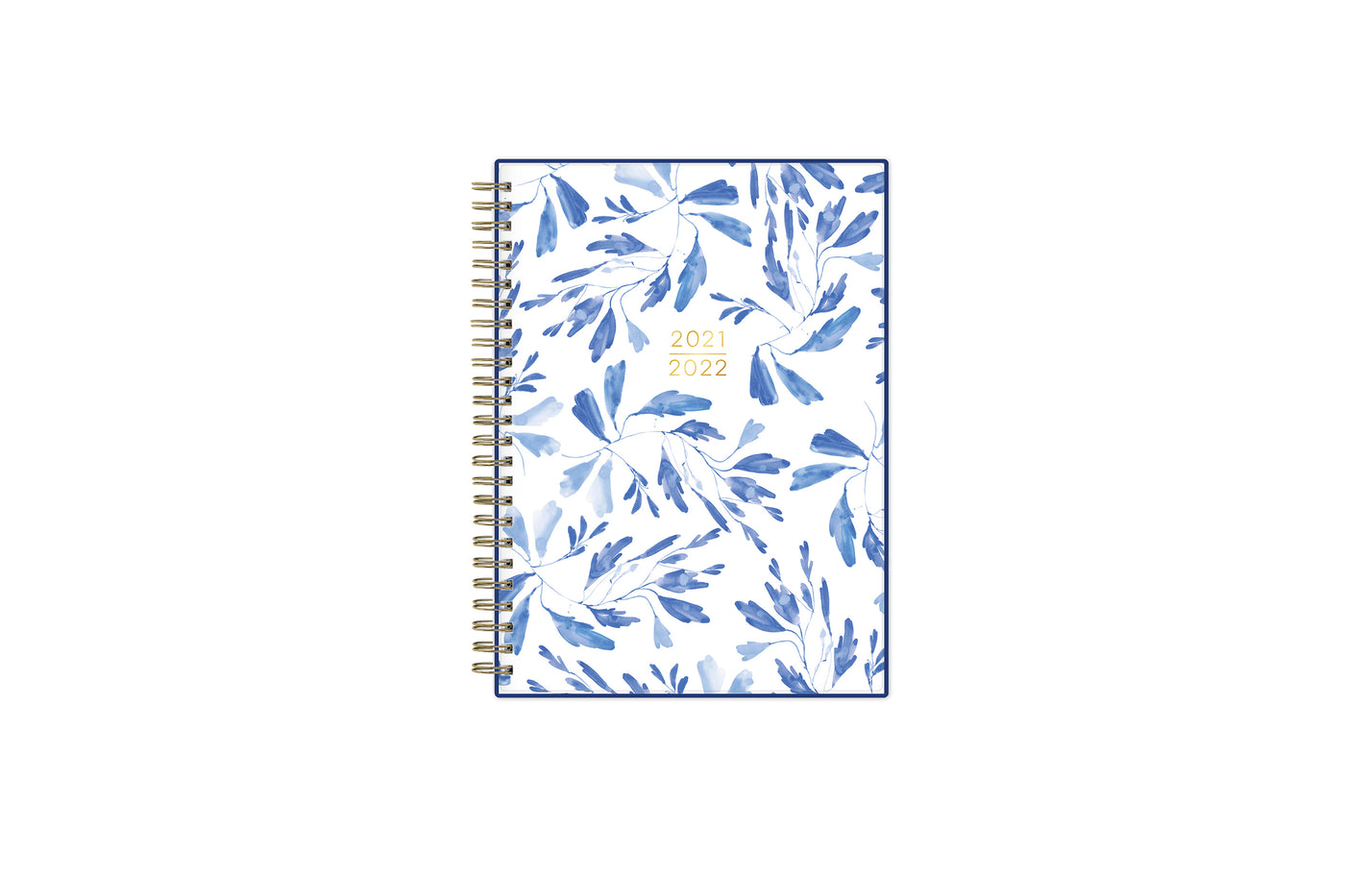 2021-2022 kelly ventura weekly monthly academic planner notes featuring a blue blushed floral cover, twin wire-o binding, in 5.875x8.625 planner size