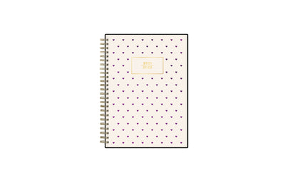 2021-2022 weekly monthly academic planner featuring a purple hearts and blush background Assistant by Ashley G