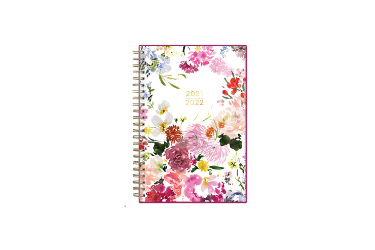 2021-2022 weekly and monthly planner feature by Kelly Ventura for Blue Sky has a beautiful brushed floral pattern with twin wire-o binding in a compact 5x8 planner size