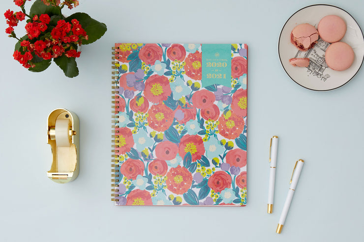 2020-2021 Floral Sketch Weekly Monthly Planner 8.5 x 11 Day Designer