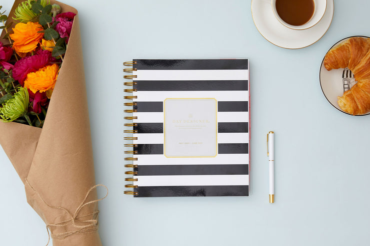 2020-2021 Daily Planner Black Stripe 8 x 10 by Day Designer