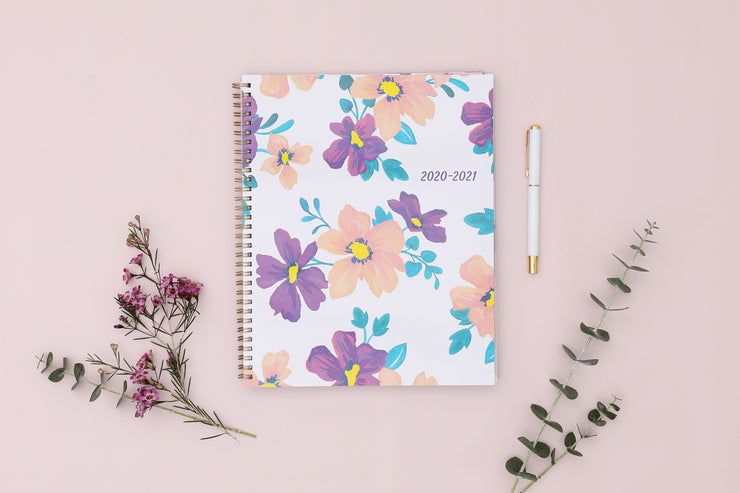 2020-2021 Preppy Floral Purple 8.5 x 11 Weekly Planner