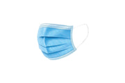 disposable face mask in blue with ear loop and 3-layer protection against dirt and dust, adjustable nose piece.