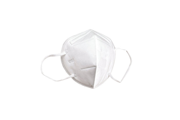 Disposable white KN95 face mask with ear loop, 5-layer protection against dust, smoke, pollen, soft to touch, non-irritating
