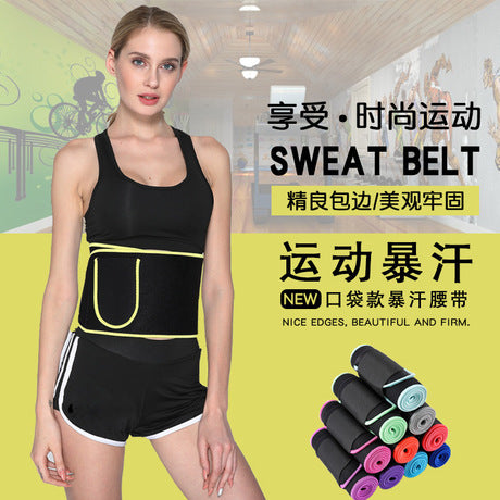 Image of NEW And HIGH-GRADE Fitness Sweat Belt With Pouch | Waist Trainer Sweat Belt